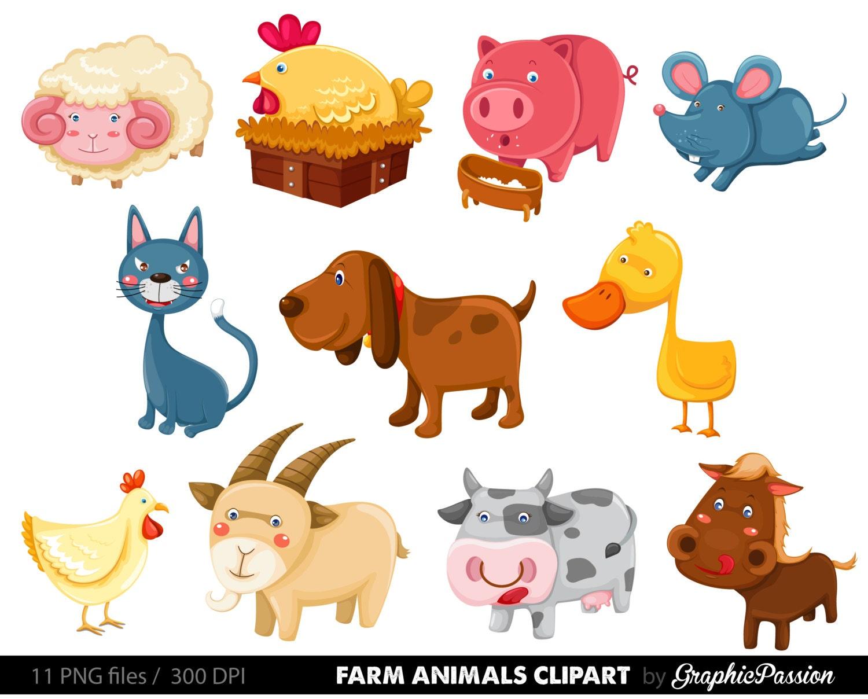 50 off farm animals clip art vectors farm animals rh etsy com animals clipart cartoon animals clipart cartoon