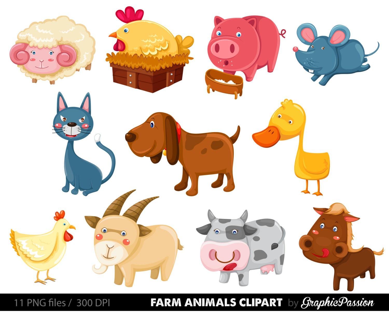 50 off farm animals clip art vectors farm animals rh etsy com farm animal clipart for teachers farm animals clip art pictures