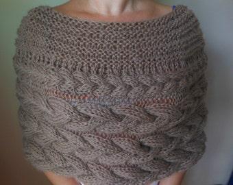 Cable Knitted Shawl Capelet Wedding Shrug Poncho Neck Warmer  Dark Beige