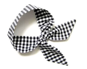 Black Gingham Scarf, Head Scarf, Short Skinny Scarf, Neck Scarf, Purse Scarf, Ponytail Scarf, Gift for Her, Under 20 Dollars,Ready to Ship