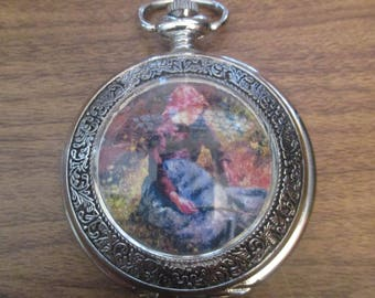Ladies Pocket Watch with Art Picture Design