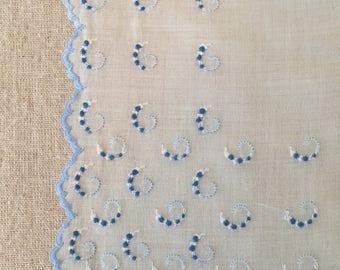 Vintage White Linen Hanky with Blue Swirls Hankie~Handkerchief