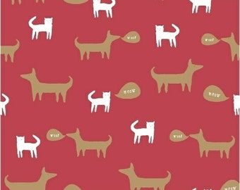 Cat and Dog Fabric - Neighborhood by Alyson Beaton for Windham Fabrics - Cats and Dogs in Red - Fabric by Half Yard