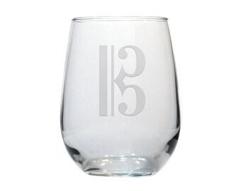 Music Wine Glass / Alto Clef / 17 oz Stemless Wine Glass / Free Personalization / Personalized Glass / Personalized Gift