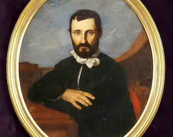 Antique Oil Portrait of a Ship Captain 19 th Century Spanish School