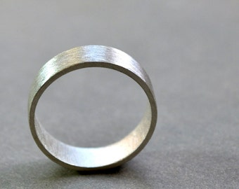 Men's Wedding Ring. 6mm Wide Flat Band. Modern Contemporary Simple Sleek Elegant Design. Sterling Silver. Jewellery. Jewelry.