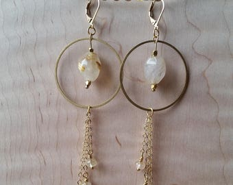 Golden rutilated quartz and brass statement earrings with chain fringe