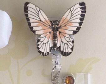 Enamel Metal Butterfly Retractable ID Badge Reel, Carabiner Badge Reel, Nurse Badge Reel, Lanyard