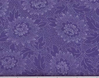 """Purple dotted floral 108"""" wide quiltback 100% cotton fabric"""