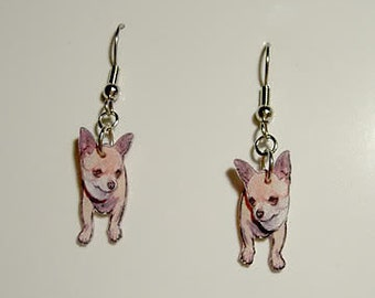 Handcrafted Plastic 3D Tan Chihuahua Earrings