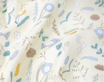 Flowers and Birds Bamboo Cotton Double Gauze, Botanic Garden Gauze - Yellow - By the Yard 86544