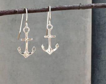 Anchor earrings, Tiny anchor earrings, sterling silver anchor drop earrings, silver anchor earrings