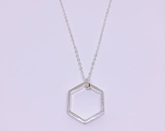 Silver Plated Geometric Hexagon Charm Necklace