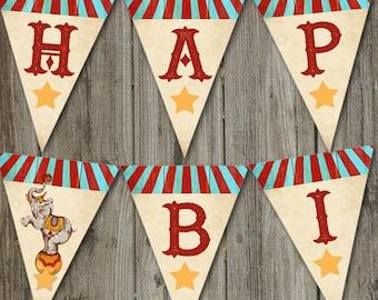 Vintage Circus Birthday PRINTABLE Pendant Banner, Vintage Circus Party Banner, Circus Party Decoration, Circus Birthday Decoration