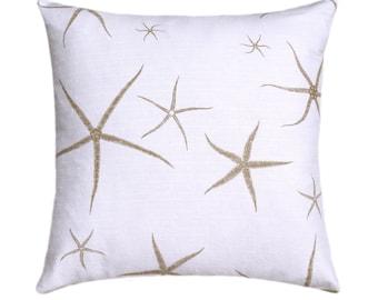 Tan Starfish Toss Pillow Cover 18x18, Beach Pillow, Natural Pillow, Coastal Nautical Pillow, Throw Pillow, Nursery Decor, Beach Bum Sand