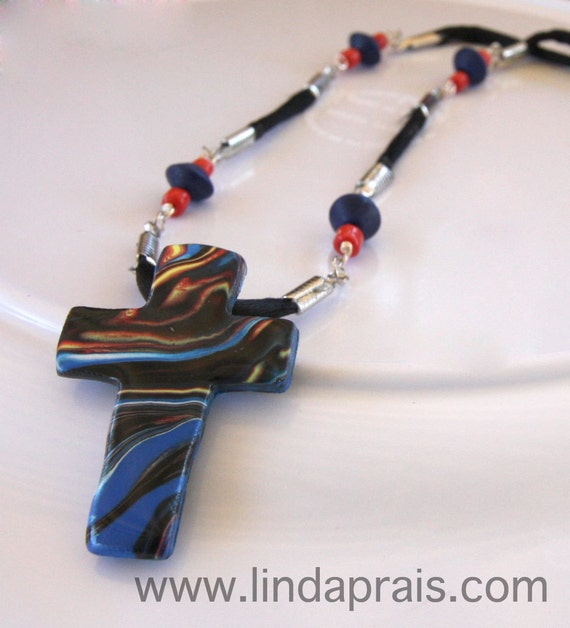 Fire - Cross Necklace, this cross is perfect for the christian biker in your life on an adjustable cord
