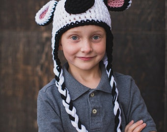 Crochet Pattern Cow Hat pattern. Instant Digital Download CP209CH