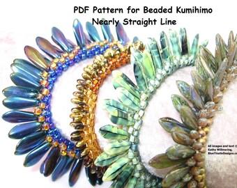 Nearly Straight Line Beaded Kumihimo Pattern - PDF