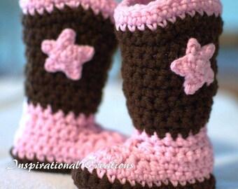 Crochet Cowgirl Boots, Crochet Boots, Crochet Pink Boots, Crochet Newborn Baby Boots, Crochet Newborn Baby Cowgirl Boots, Cowgirl, Handmade