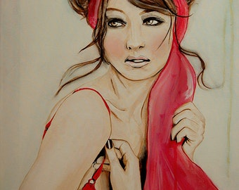 Cherry Blossom Girl -  Fashion Fine Art Painting Art Print, Woman, Portrait Painting by Leigh Viner // Limited Edition
