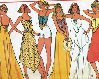 Vintage 70s McCalls 5583 Misses Summer Backless Sun Dress or Triangle Top, Pants or Shorts Sewing Pattern