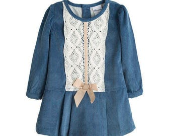 Baby girl dress, Corduroy dress, Girl dress, Winter dress, Blue dress, Children fashion, Vintage dress, Fashion baby girls