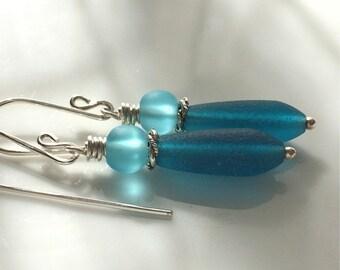 Teal Sea Glass Earrings    Cultured Sea Glass    Aqua and Teal Glass Earrings    Beach Glass    Sterling Silver Earrings