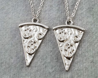 Pizza Necklace SET of 2 Pepperoni Pizza Necklaces Pizza Slice Charm Necklace Pendant Necklace Best Friend Necklace Friendship Jewelry Gift