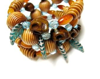 Day Of The Dead Bracelet Sugar Skull Jewelry Blue Brown