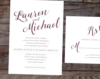Modern invitation, calligraphy wedding invitations, formal wedding invitations, elegant wedding invites, timeless wedding invitations