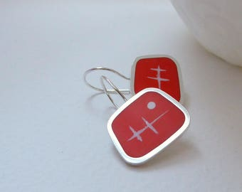 Square Silver Earrings - Orange Drop Earrings - Resin Jewellery - Contemporary Jewellery -  Quercus Silver - Graphico Atomic