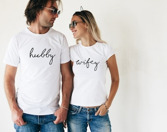 Hubby and Wifey T-Shirt Set Mr and Mrs Husband & Wife Wedding Gift Bride and Groom Couple Gift His and Hers Shirts Gifts for Couples