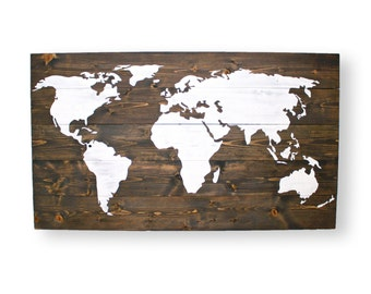 Map of the World-  World Map with Pins- World Traveler Map- Gifts for Men- Large Wall Art- Travel Wood Sign- Travel World Map Pin