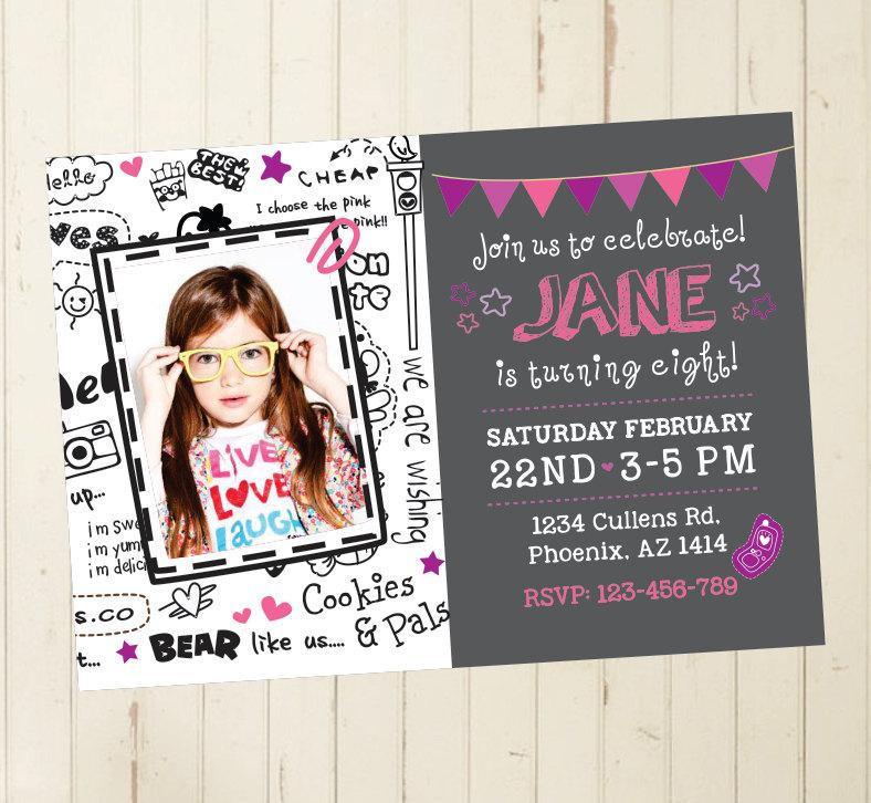 6th birthday invitation girl birthday invitation girl cool