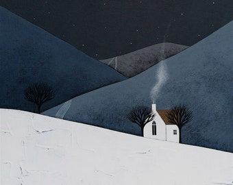 The Quiet of the Night 14 - Contemporary Winter Landscape 8x8 Art Print - by Natasha Newton