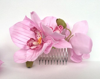 Orchids Wedding Hair accessories Real Flower accessories Wedding Hair comb Bridal Hair flower pink Hair comb Flower hair piece
