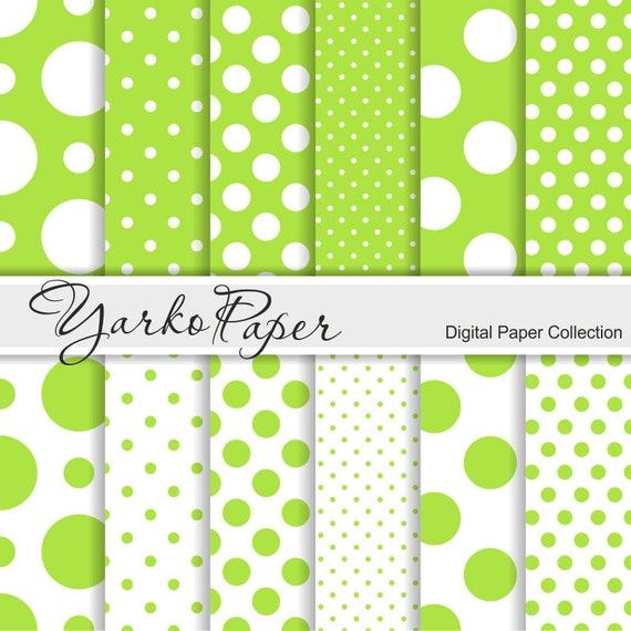 Lime Green And White Polka Dot Digital Paper Pack Scrapbook Paper