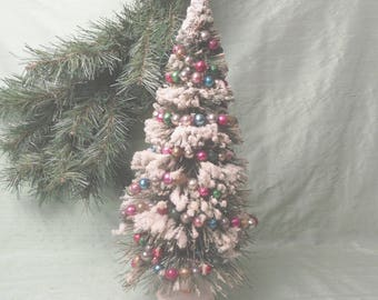 Green bottle brush flocked Christmas tree with glass beads / tall vintage 13 inch holiday decoration