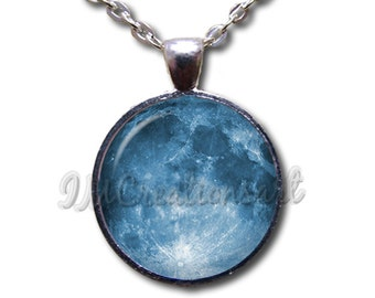 Celestial Moon - Round Glass Dome Pendant or with Necklace by IMCreations - SM100
