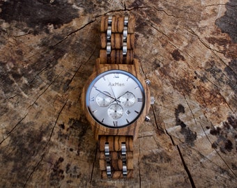 FREE Engraving, Wood Watch, Mens Wood Watch, Wooden Watch, Chronograph Watch, Mens Wooden Watch, Personalized Watch, Anniversary Gift Men