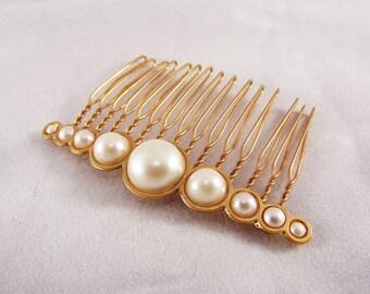Rose gold hair comb, Bridal jewellery Pearl headpiece, Bridal hair accessories, Bridal pearl hair piece, Wedding rose gold accessories tiara