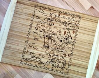 Marin County Map Large Bamboo Cutting Board