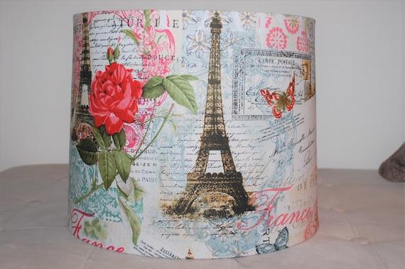 Custom Paris Themed Script Lamp Shade Pink Blue White Red