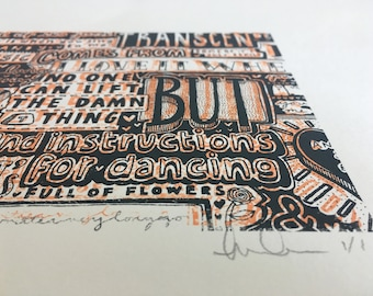 Book of Love Screen Print | Orange & Charcoal | Typography | Wall Art | Song Lyrics | Valentines | Anniversary | Wedding | Snowtap