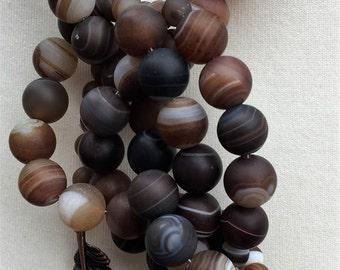 Gemstone Lariat, Agate Lariat, Striped Agate Bead Lariat, Leaf Lariat, Handmade Necklace, Edinburgh Jewellery, K Brown Jewellery, U.K.