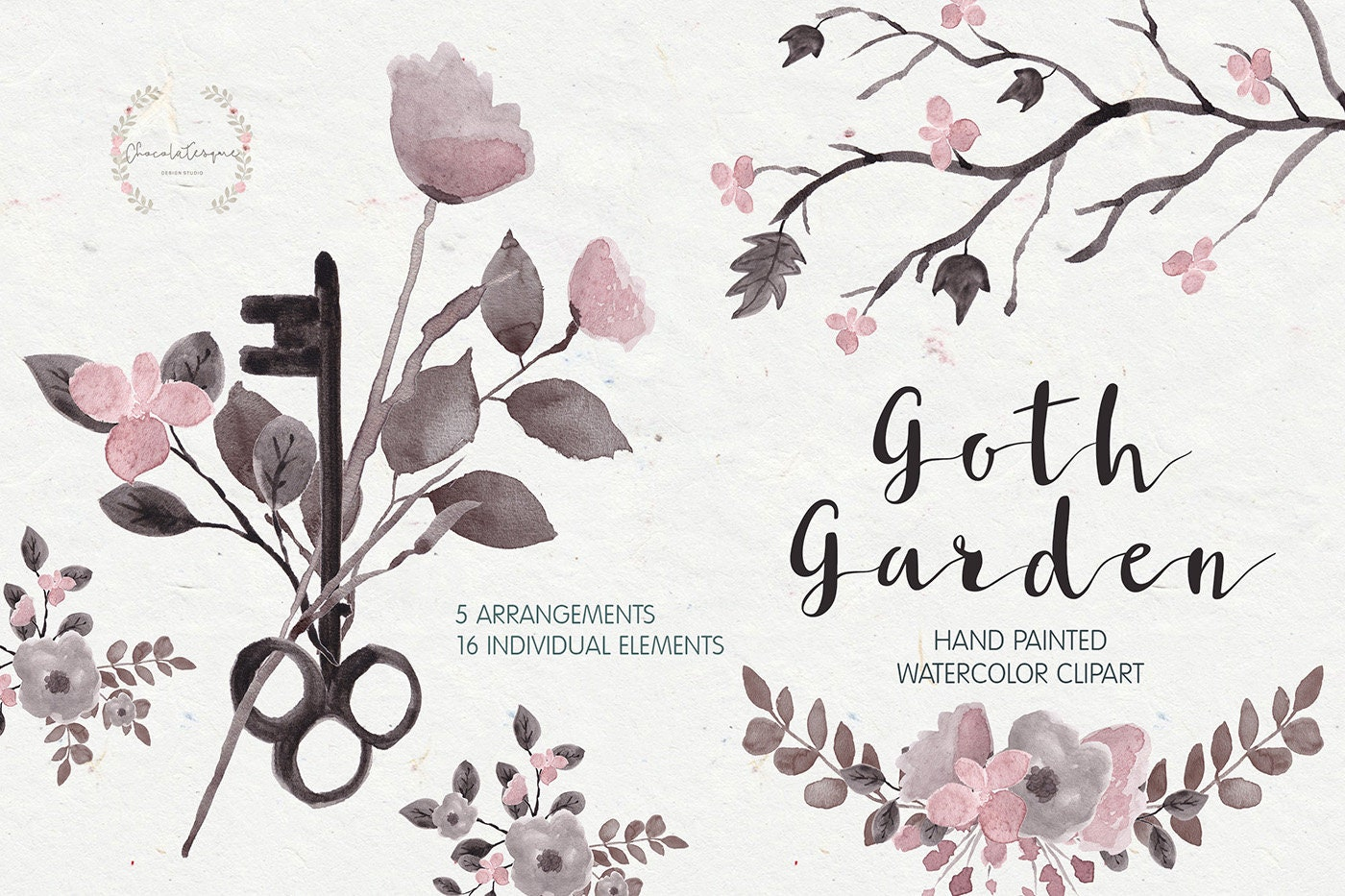 Floral clipart gothic flowers gothic clipart dark flowers zoom kristyandbryce Images