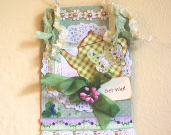 Get Well  Shabby Wall Hanging Altered Art Collage