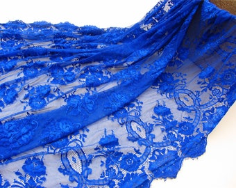 cobalt blue lace,eyelash lace fabric for dress,Chantilly lace