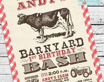 Vintage Barnyard Bash Invitation PLUS Matching Thank You Note