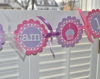 Highchair Banner, 1st Birthday Banner, I am One Banner, Polkadots Pink, Purple with Cupcakes